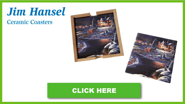 Jim Hansel Artwork Ceramic Coaster Set